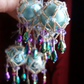 6 x ice blue and petrol Crystal Victoriana Baubles