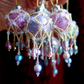 6  x Shell Pink, Lavender and Lime Crystal Victoriana Baubles