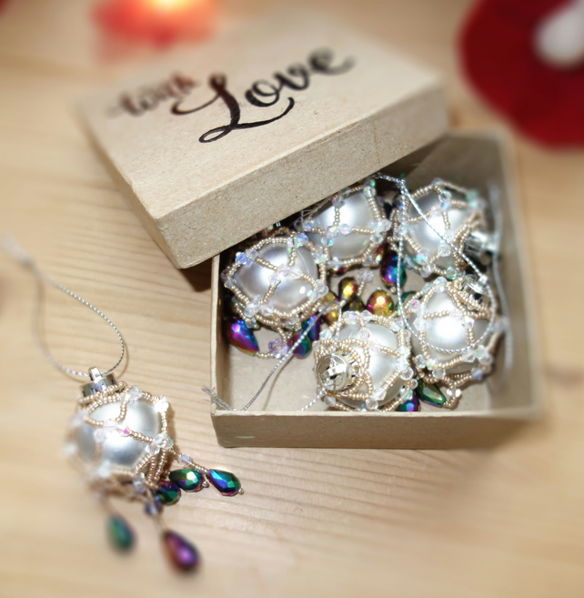 6 x silver and petrol Christmas Xmas Baubles Boxed