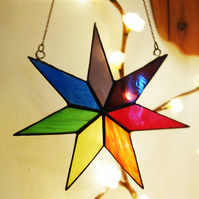 Stained Glass Rainbow Chakra Star Suncatcher