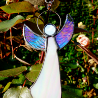 White iridescent angel Stained Glass Suncatcher