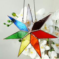 Stained Glass  Chakra Star Suncatcher Window Decoration