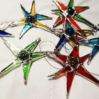 """Sputnik""  Stars  Retro 50's inspired decorations in Stained Glass x 7"