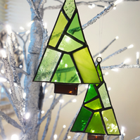 A Pair of Stained Glass Festive Trees
