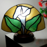 Stained Glass Calla Lily Fan Lamp