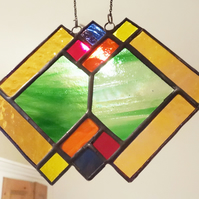 Stained Glass 'Art Deco'  Suncatcher Window Decoration