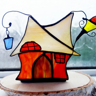 Tipsy Cottage Stained Glass Candle Night Light