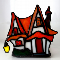 "Stained Glass ""Red Roof Cottage""  Clarice Cliff inspired night light"