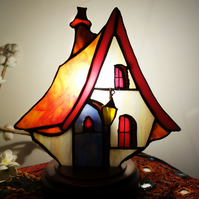 "Stained Glass Lamp ""Snow White Cottage"" Home Decor Lighting"
