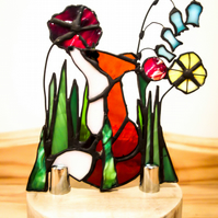 Stained Glass Woodland Fox in Flowers Suncatcher -  Night Light Tea Light Holder