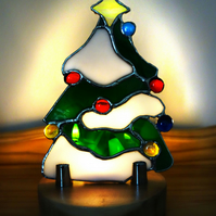 Stained Glass  Festive Christmas Tree on Solid Tulip Wood Display Stand