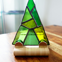 Art Deco style  Stained Glass Festive Trees on solid wood plinth FREE POSTAGE UK