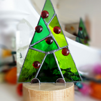 Abstract style  Stained Glass Festive Tree on solid wood plinth FREE POSTAGE UK