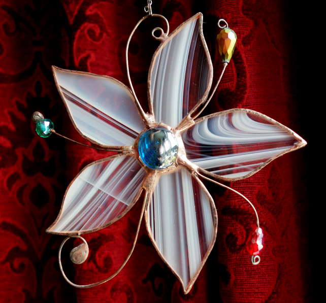 Stained Glass Sun Catcher  Flower with decorative wire and crystals  Handcrafted