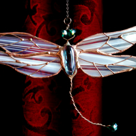Stained Glass White Dragonfly  Sun catcher Window Decoration