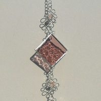 October Stained Glass Suncatcher - October Birthstone, Rose Zircon