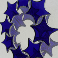 Blue Stained Glass Suncatcher, Cobalt Blue Stained Glass Star Circle