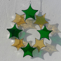 Christmas Decoration, Christmas Stained Glass Star Suncatcher - Yellow & Green
