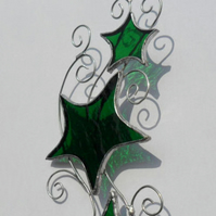 Green Stars & Curls Stained Glass Suncatcher