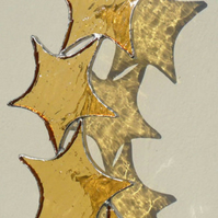 Stained Glass Suncatcher, Gold Star Cascade