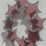 Pink Stained Glass Star Suncatcher, Stained Glass Star Circle