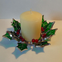Holly Candle Holder, Stained Glass Holly Candle Stand - Made To Order