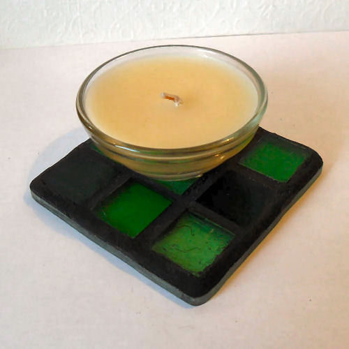 Stained Glass Mosaic Candle Stand, Green Stained Glass