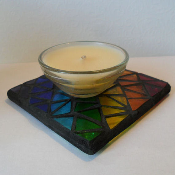 Rainbow Glass Mosaic Coaster, Rainbow Mosaic Candle Stand