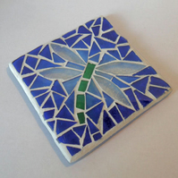 Dragonfly Stained Glass Mosaic Coaster, Dragonfly Mosaic Candle Stand