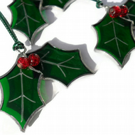 Stained Glass Holly Christmas Tree Decoration Folksy