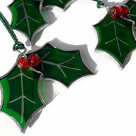 Stained Glass Holly Christmas Tree Decoration