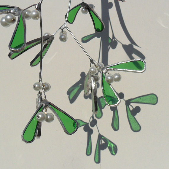 Stained Glass Mistletoe Christmas Sprig, Christmas Mistletoe - Made To Order