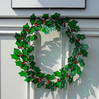 Stained Glass Christmas Holly Wreath, Christmas Wreath - Made To Order