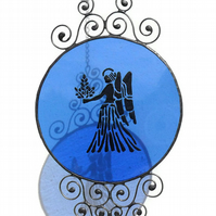 Stained Glass Virgo Zodiac Suncatcher, Sapphire Blue Virgo Birthday Gift