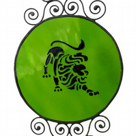 Stained Glass Leo Zodiac Suncatcher, Peridot Birthstone Suncatcher