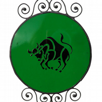 Stained Glass Taurus Zodiac Suncatcher, Emerald Birthstone Suncatcher