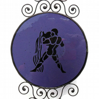 Stained Glass Aquarius Zodiac Suncatcher, Amethyst Birthstone Suncatcher
