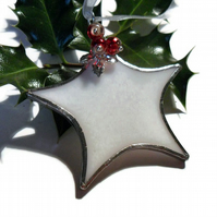 Stained Glass Star Christmas Decoration, White Star With Red Beads