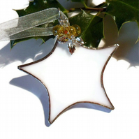 Stained Glass Christmas Decoration, White Stained Glass Star With Yellow Beads