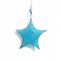 Stained Glass Star Suncatcher, Blue Topaz Suncatcher, November Birthday