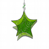 Stained Glass Star Suncatcher, Peridot Suncatcher, August Birthday