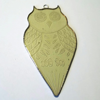 Stained Glass Owl Suncatcher, Engraved Stained Glass Owl, Yellow Owl Suncatcher