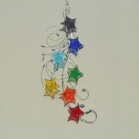 Star Chakra Suncatcher, Stained Glass Stars & Swirls
