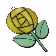 Yellow Stained Rose Suncatcher, Charles Rennie Mackintosh Style Rose Suncatcher