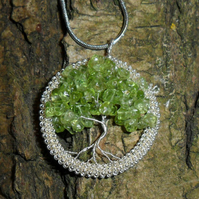 Peridot Tree Of Life Pendant, Peridot Tree Of Life Necklace - MADE TO ORDER