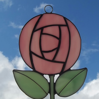 Pink Rose Suncatcher, Charles Rennie Mackintosh Style Rose Suncatcher