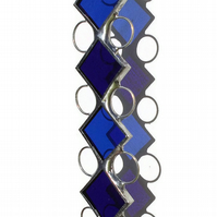 September Sapphire Stained Glass Suncatcher, Sapphire Blue Suncatcher