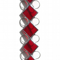 Red Stained Glass Suncatcher, Ruby Birthstone Suncatcher