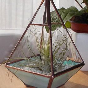 Stained Glass Air Plant Terrarium, Air Plant Holder - MADE TO ORDER