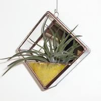 Glass Air Plant Terrarium, Air Plant Holder, Yellow Stained Glass
